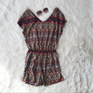 One Clothing brown, pink and navy print romper